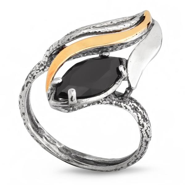 Купить Серебряное кольцо Yaffo с золотом и фианитом SAR210