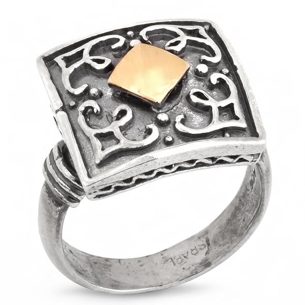 Купить Серебряное кольцо Yaffo с золотом SAR218