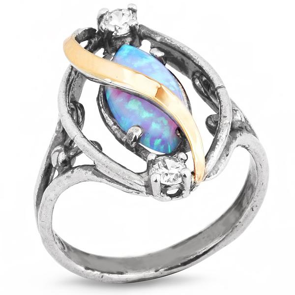 Купить Серебряное кольцо Yaffo с золотом, фианитами и опалом SAR246