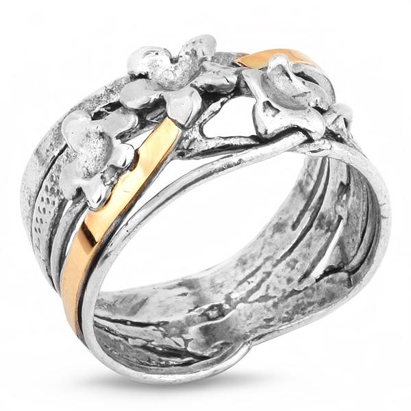Купить Серебряное кольцо Yaffo с золотом SAR252