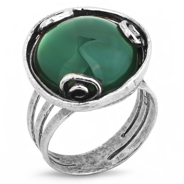 Купить Серебряное кольцо Yaffo с зеленым агатом SAR258