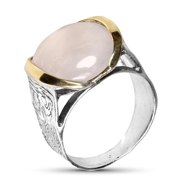 Купить Серебряное кольцо Yaffo с золотом и розовым кварцем SAR270