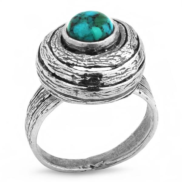 Купить Серебряное кольцо Yaffo с золотом и бирюзой SAR276