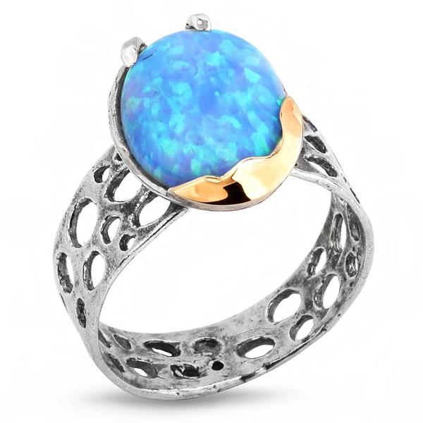 Купить Серебряное кольцо Yaffo с золотом и опалом SAR300