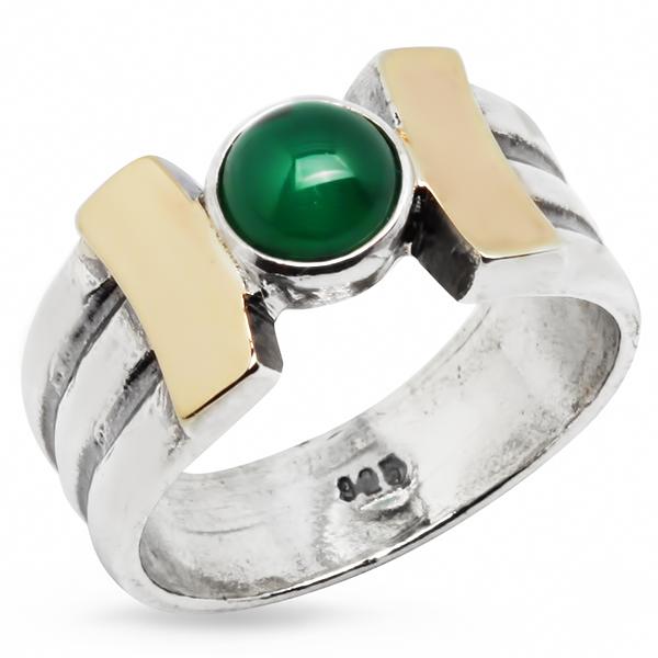 Купить Серебряное кольцо Yaffo с золотом и зеленым агатом SAR302