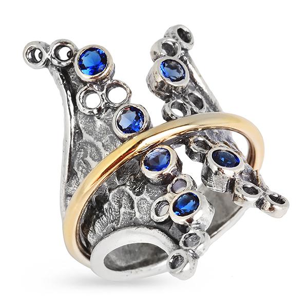 Купить Серебряное кольцо Yaffo с золотом и фианитами SAR312