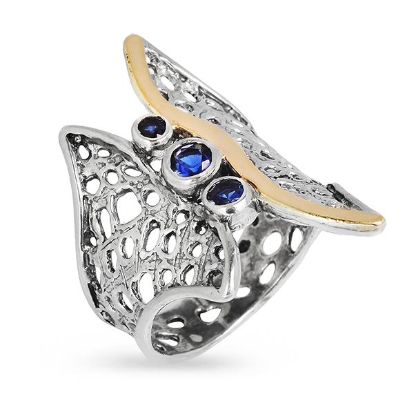 Купить Серебряное кольцо Yaffo с золотом и фианитами SAR315