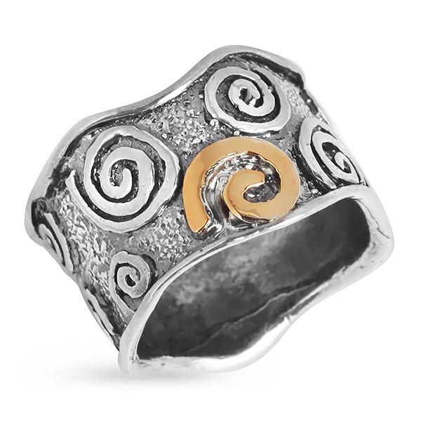 Купить Серебряное кольцо Yaffo с золотом SAR325