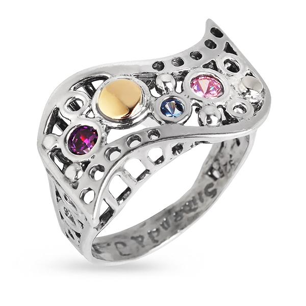 Купить Серебряное кольцо Yaffo с золотом и фианитом SAR350