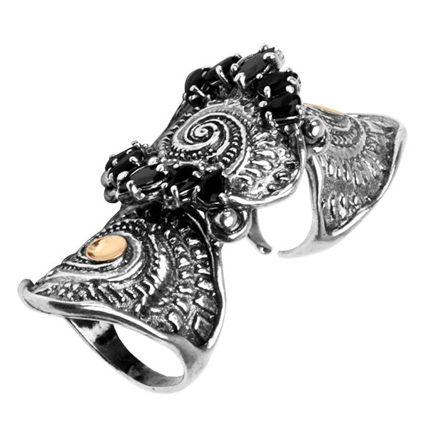 Купить Серебряное кольцо Yaffo с золотом и фианитом SAR371