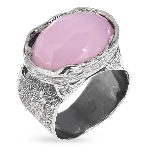 Купить Серебряное кольцо Yaffo с розовым кварцем SAR398