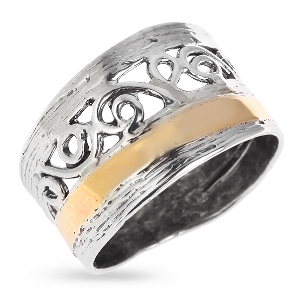 Купить Серебряное кольцо Yaffo с золотом SAR432
