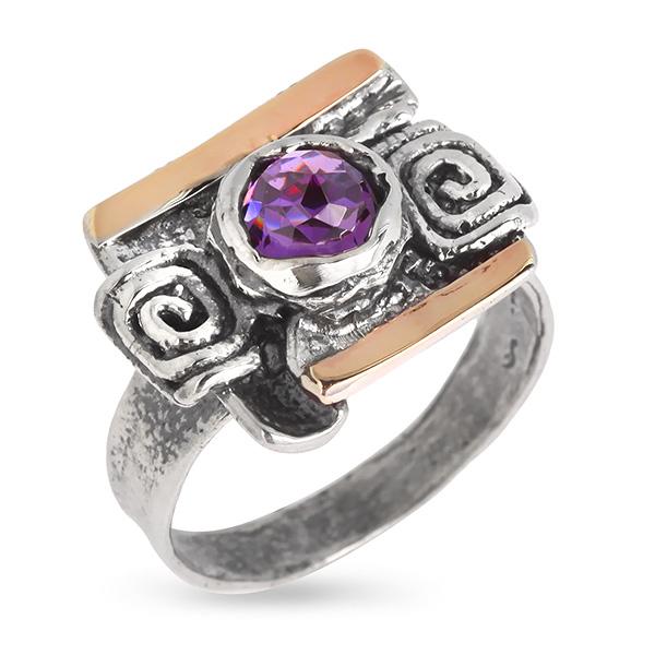 Купить Серебряное кольцо Yaffo с фианитом и золотом SAR572