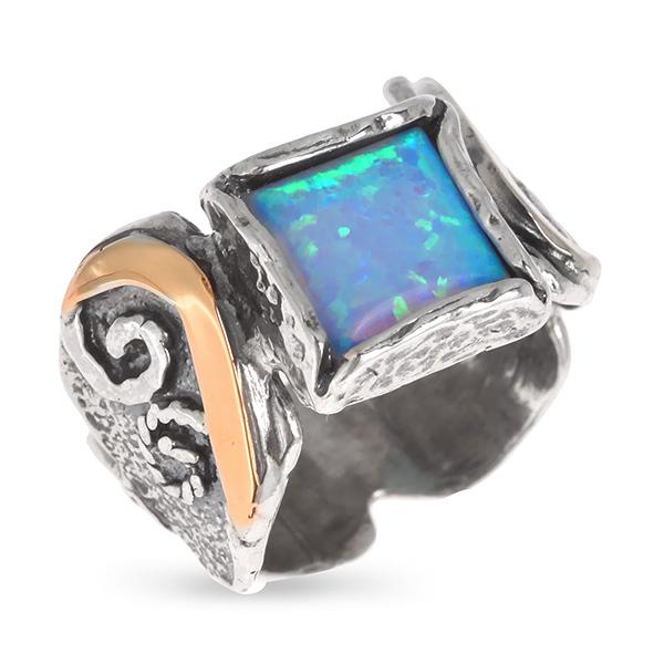 Купить Серебряное кольцо Yaffo с опалом синтетическим и золотом SAR590