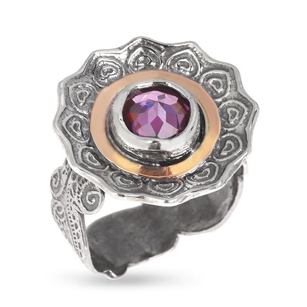 Купить Серебряное кольцо Yaffo с фианитом и золотом SAR593
