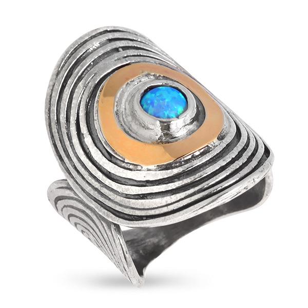 Купить Серебряное кольцо Yaffo с опалом синтетическим и золотом SAR600