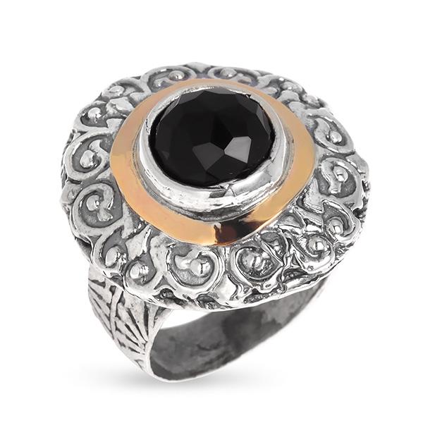 Купить Серебряное кольцо Yaffo с черным фианитом и золотом SAR604