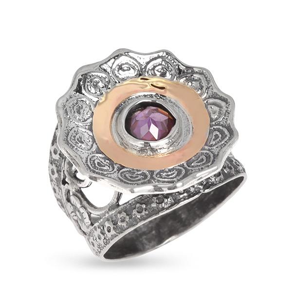 Купить Серебряное кольцо Yaffo с фианитом и золотом SAR607