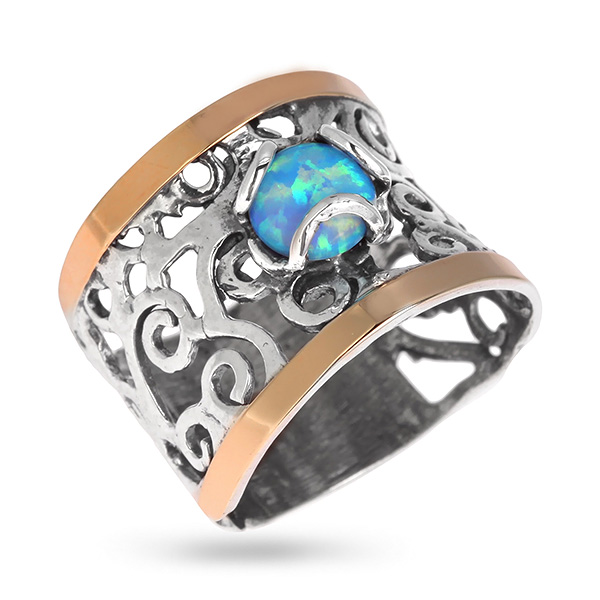Купить Серебряное кольцо Yaffo с опалом синтетическим и золотом SAR611