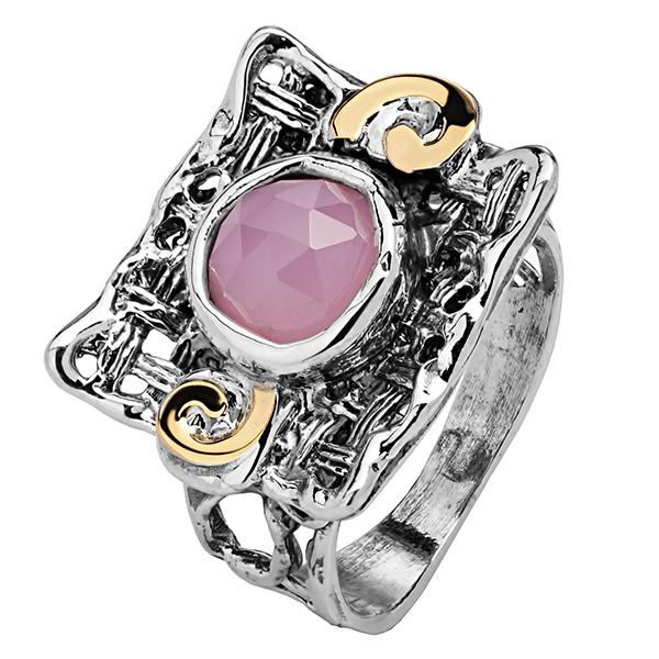 Купить Серебряное кольцо Yaffo с розовым кварцем и золотом SAR638RQ