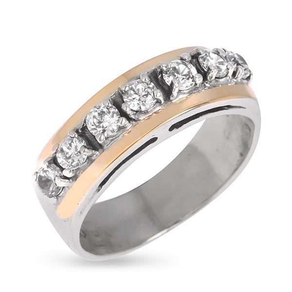Купить Серебряное кольцо Yaffo с фианитом и золотом SAR641