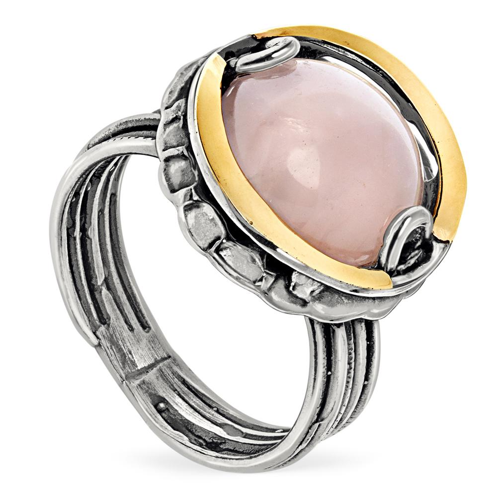 Купить Серебряное кольцо Yaffo с розовым кварцем и золотом SAR650RQ