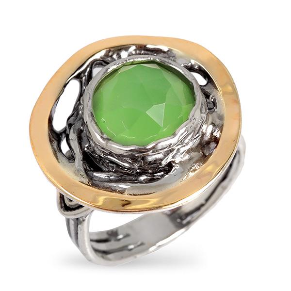 Купить Серебряное кольцо Yaffo с мятным кварцем и золотом SAR685