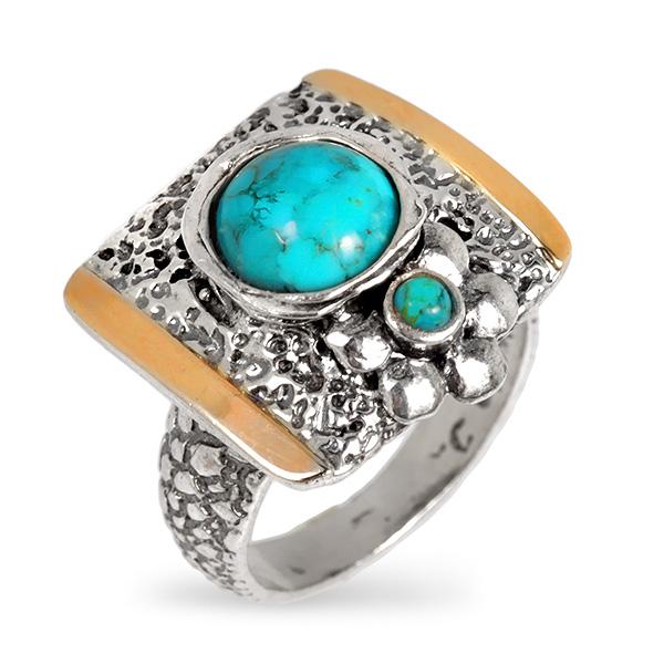 Купить Серебряное кольцо Yaffo с бирюзой и золотом SAR688