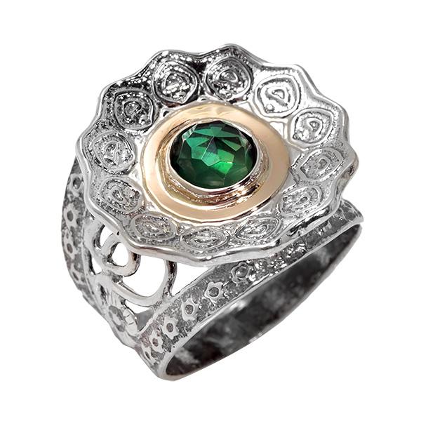 Купить Серебряное кольцо Yaffo с фианитом и золотом SAR696