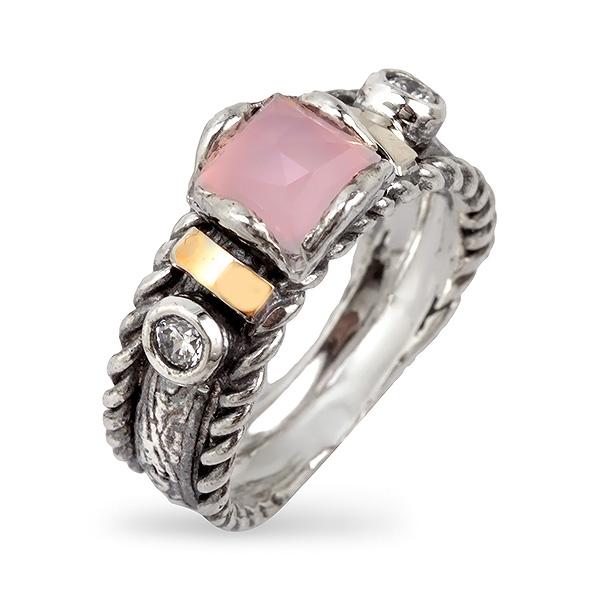 Купить Серебряное кольцо Yaffo с розовым кварцем, фианитом и золотом SAR712
