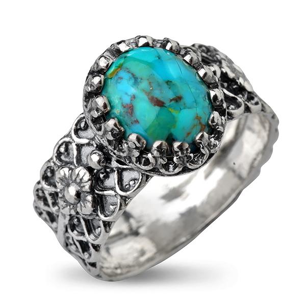 Купить Серебряное кольцо Yaffo с бирюзой SAR773