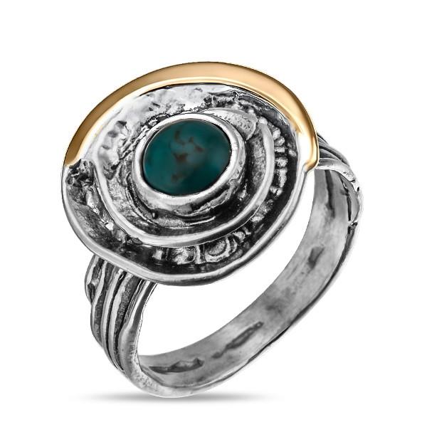 Купить Серебряное кольцо Yaffo с бирюзой и золотом SAR870