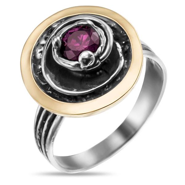 Купить Серебряное кольцо Yaffo с фианитом и золотом SAR888