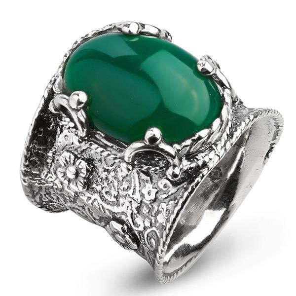 Купить Серебряное кольцо Yaffo с зеленым агатом SAR912