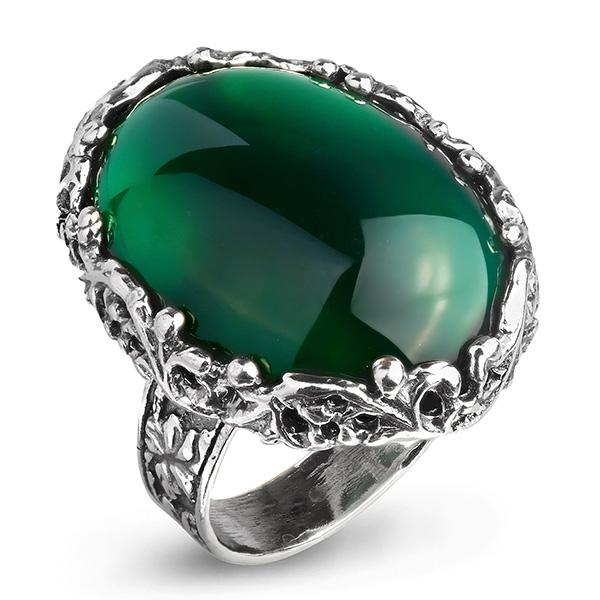 Купить Серебряное кольцо Yaffo с зеленым агатом SAR933