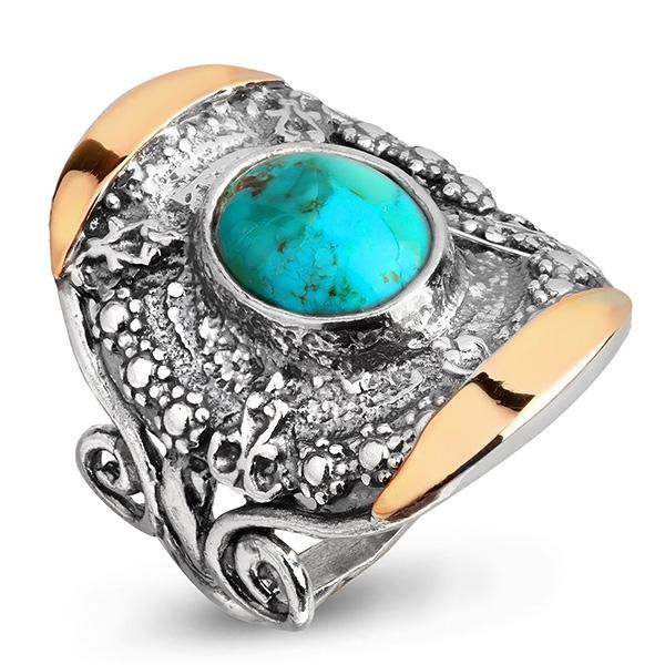 Купить Серебряное кольцо Yaffo с бирюзой и золотом SAR977