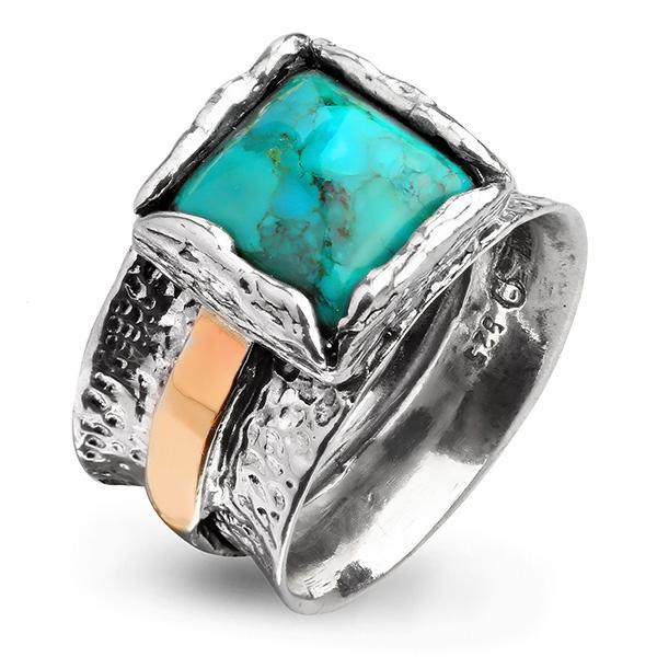Купить Серебряное кольцо Yaffo с бирюзой и золотом SAR991