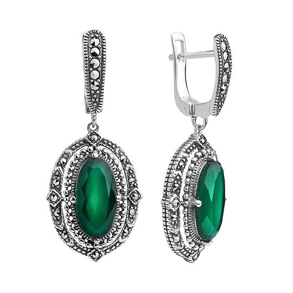 Купить Серебряные серьги с зеленым агатом и марказитами Swarovski TJE011, ALEXANDRE VASSILIEV
