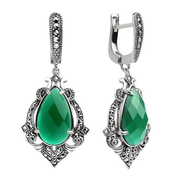 Купить Серебряные серьги ALEXANDRE VASSILIEV с зеленым агатом и марказитами Swarovski TJE209