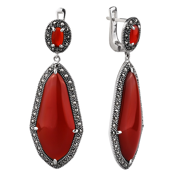 Купить Серебряные серьги ALEXANDRE VASSILIEV с красным агатом и марказитами Swarovski TJE347