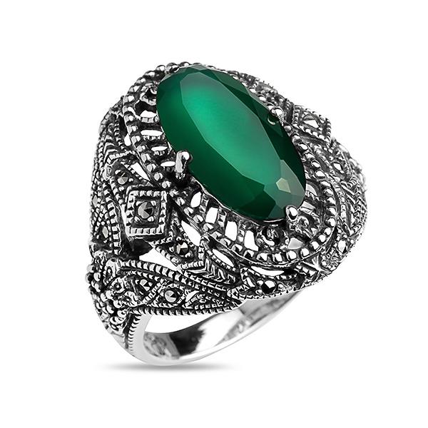 Купить Серебряное кольцо ALEXANDRE VASSILIEV с зеленым агатом и марказитами Swarovski TJR012