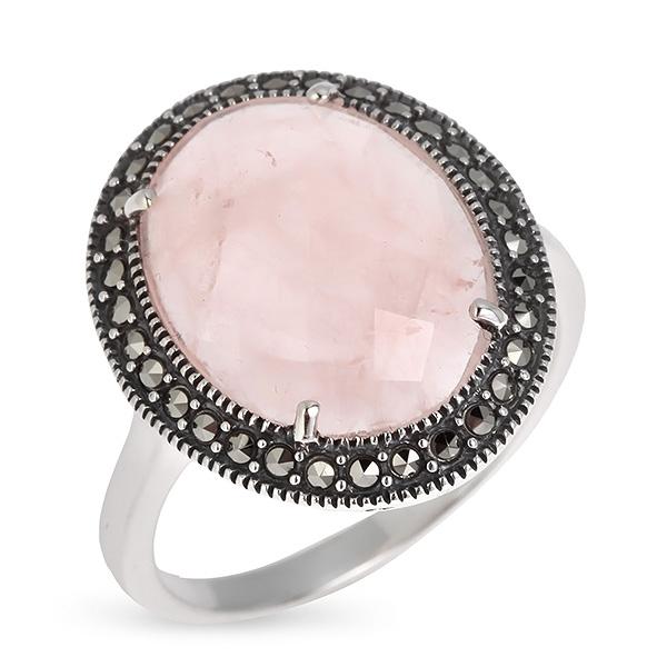 Купить Серебряное кольцо ALEXANDRE VASSILIEV с розовым кварцем и марказитами Swarovski TJR056