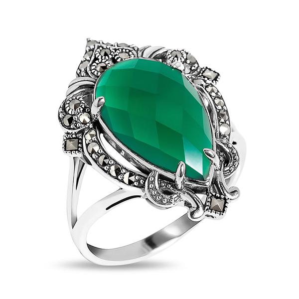 Купить Серебряное кольцо ALEXANDRE VASSILIEV с зеленым агатом и марказитами Swarovski TJR208