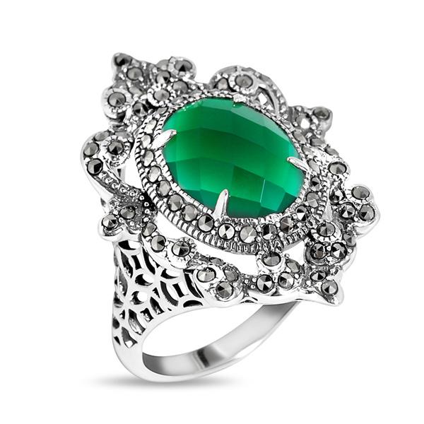 Купить Серебряное кольцо ALEXANDRE VASSILIEV с зеленым агатом и марказитами Swarovski TJR211