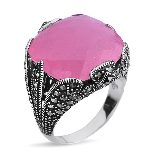 Купить Серебряное кольцо ALEXANDRE VASSILIEV с розовым кварцем и марказитами Swarovski TJR248PQ