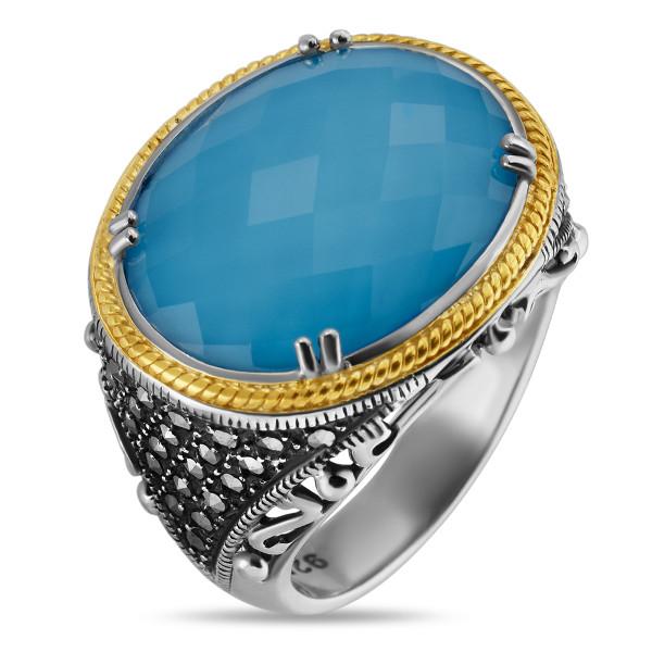 Купить Серебряное кольцо ALEXANDRE VASSILIEV с бирюзой, горным хрусталем и марказитами Swarovski, позолотой TJR272