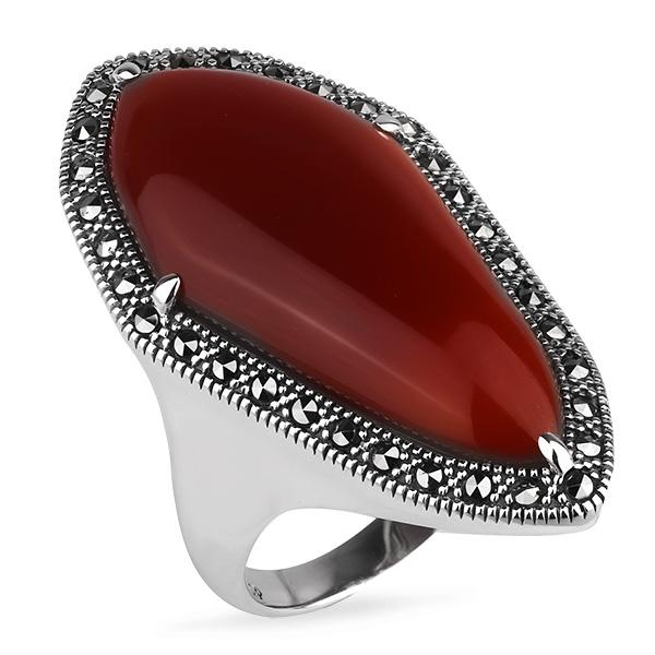 Купить Серебряное кольцо ALEXANDRE VASSILIEV с красным агатом и марказитами Swarovski TJR348