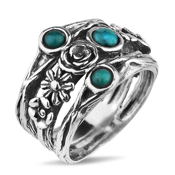 Купить Серебряное кольцо Yaffo с бирюзой TZR366