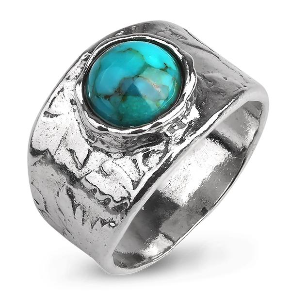Купить Серебряное кольцо Yaffo с бирюзой TZR381