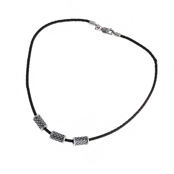 Купить Мужской серебряный кулон на кожаном шнурке WPN012
